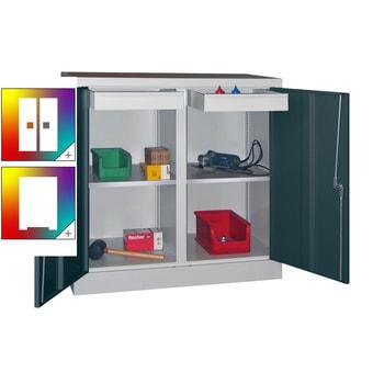 Beispielabbildung: Stahlschrank mit Vollblechtüren, einzeln verschließbar, Korpus in RAL 7016 lichtgrau und Front in Anthrazitgrau (RAL 7016), 2 Einlegeböden, 2 Schubladen