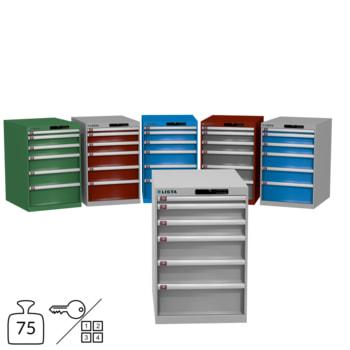 Lista Schubladenschrank - 850x564x725 mm (HxBxT) - 6 Schubladen - 75 kg - 78.144/14.407 - Key oder Code Lock