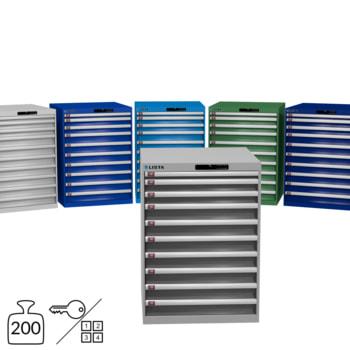 Lista Schubladenschrank - 1.000x717x725 mm (HxBxT) - 10 Schubladen - 75 oder 200 kg - 78.180/78.181/14.413/14.507 - Key oder Code Lock