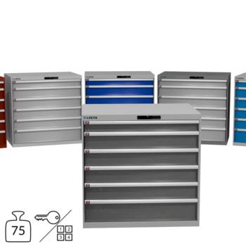 Lista Schubladenschrank - 1.000x1.023x725 mm (HxBxT) - 6 Schubladen - 75 oder 200 kg - 78.301/78.291/78.186/14.515 - Key oder Code Lock