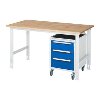 Beispielabbildung: Arbeitstisch, Rollcontainer mit 3 Schubladen, hier in der Ausführung mit Buche-Massiv-Arbeitsplatte, Breite: 1.500 mm