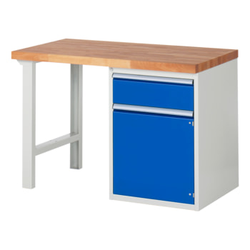 Beispielabbildung: Werkbank mit Schrank, 1 Schublade, hier in der Ausführung 840 x 1.250 x 700 mm (HxBxT)