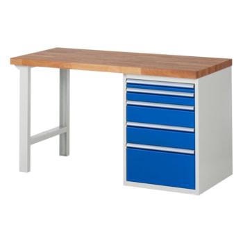 Beispielabbildung: Werkbank mit 5 Schubladen, hier in der Ausführung 840 x 1.500 x 700 mm (HxBxT)