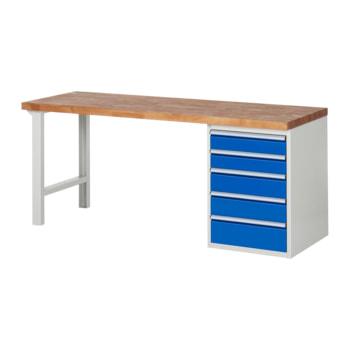 Beispielabbildung: Werkbank mit 5 Schubladen, hier in der Ausführung 840 x 2.000 x 700 mm (HxBxT)