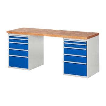 Beispielabbildung: Werkbank mit 10 Schubladen, hier in der Ausführung 840 x 2.000 x 700 mm (HxBxT)