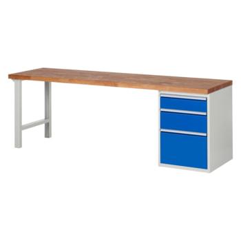 Beispielabbildung: Werkbank mit 3 Schubladen, hier in der Ausführung 840 x 2.500 x 700 mm (HxBxT)