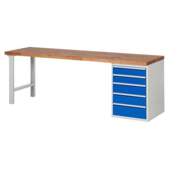 Beispielabbildung: Werkbank mit 5 Schubladen, hier in der Ausführung 840 x 2.500 x 700 mm (HxBxT)