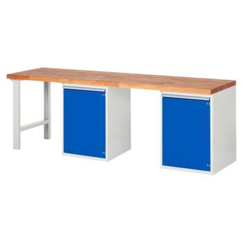 Beispielabbildung: Werkbank mit 2 Schränken, hier in der Ausführung 840 x 2.500 x 700 mm (HxBxT)