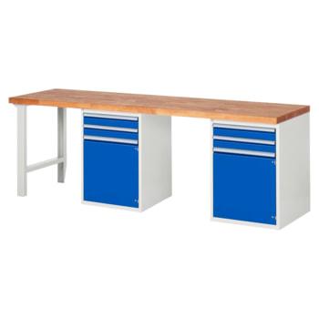 Beispielabbildung: Werkbank mit 2 Schränken, 4 Schubladen, hier in der Ausführung 840 x 2.500 x 700 mm (HxBxT)