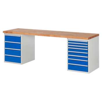 Beispielabbildung: Werkbank mit 12 Schubladen, hier in der Ausführung 840 x 2.500 x 700 mm (HxBxT)