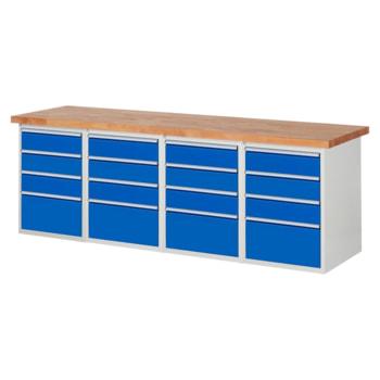 Beispielabbildung: Werkbank mit 16 Schubladen, hier in der Ausführung 840 x 2.500 x 700 mm (HxBxT)