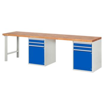 Beispielabbildung: Werkbank mit 2 Schränken, 4 Schubladen, hier in der Ausführung 840 x 3.000 x 700 mm (HxBxT)