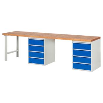 Beispielabbildung: Werkbank mit 8 Schubladen, hier in der Ausführung 840 x 3.000 x 700 mm (HxBxT)