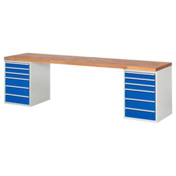 Beispielabbildung: Werkbank mit 12 Schubladen, hier in der Ausführung 840 x 3.000 x 700 mm (HxBxT)