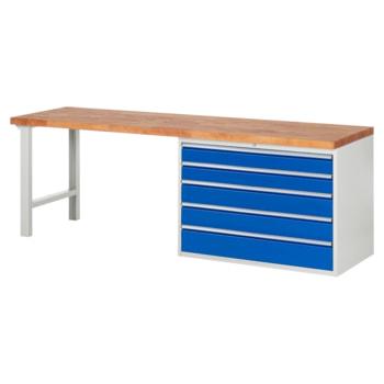 Beispielabbildung: Werkbank mit 5 XXL Schubladen, hier in der Ausführung 840 x 2.500 x 700 mm (HxBxT)