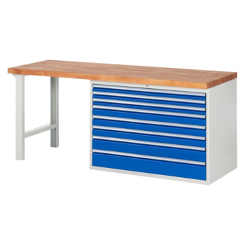 Beispielabbildung: Werkbank mit 8 XXL Schubladen, hier in der Ausführung 840 x 2.000 x 700 mm (HxBxT)