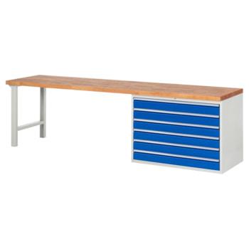 Beispielabbildung: Werkbank mit 6 XXL Schubladen, hier in der Ausführung 840 x 3.000 x 700 mm (HxBxT)