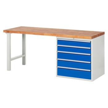 Beispielabbildung: Werkbank mit 5 XL Schubladen, hier in der Ausführung 840 x 2.000 x 700 mm (HxBxT)