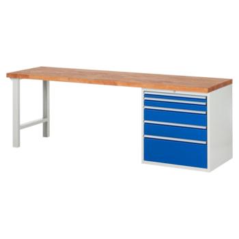 Beispielabbildung: Werkbank mit 5 XL Schubladen, hier in der Ausführung 840 x 2.500 x 700 mm (HxBxT)