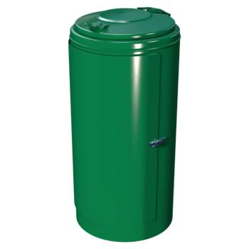 Beispielabbildung Rastplatz-Abfallbehälter mit Spannverschluss, hier in Laubgrün (RAL 6002)