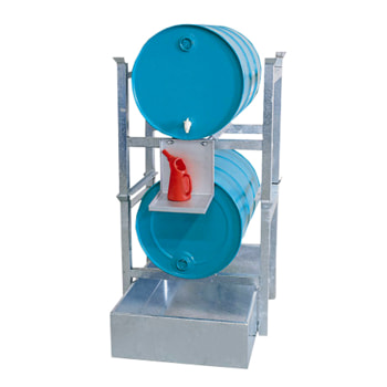Beispielabbildung Abfüllstation aus Stahl: hier in der Ausführung für 2 x 200 l Fässer (Kannenträger nicht im Lieferumfang enthalten)