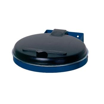 Beispielabbildung Müllsackhalter: hier in der Ausführung für einen Kunststoffsack, zur Wandmontage, Enzianblau (RAL 5010), Kunststoff-Deckel, schwarz