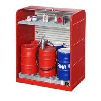 Beispielabbildung des Gefahrstoffschrankes in Feuerrot. Die Farbe entnehmen Sie bitte der Beschreibung.
