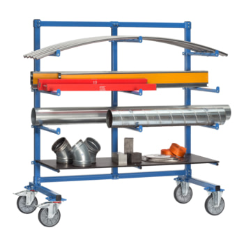 Beispielabbildung Tragarmwagen mit Abrollsicherung: hier in der einseitigen Ausführung (Material und Bodenplatte nicht im Lieferumfang enthalten)