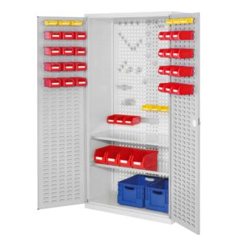 Beispielabbildung Werkzeugschrank: hier mit Türen in lichtgrau (RAL 5035) (Werkzeug, Werkzeughalter u. Kisten nicht im Lieferumfang enthalten)