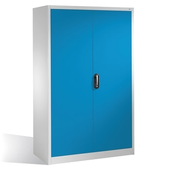 Ähnliche Abbildung, zeigt Schwerlastschrank in der Türfarbe Lichtblau (RAL 5012) und abweichender Größe
