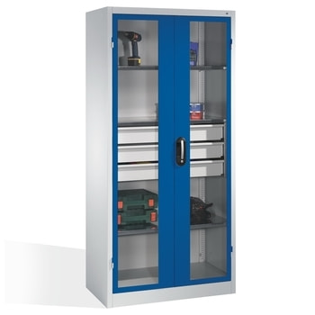 Ähnliche Abbildung, zeigt Werkzeugschrank in der Türfarbe Enzianblau (RAL 5010) und abweichender Größe - Inhalt nicht im Lieferumfang enthalten