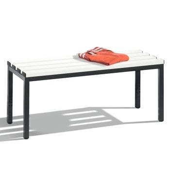 Abbildung zeigt Sitzbank mit Kunststoffleisten in der Gestellfarbe Schwarzgrau (RAL 7021) - Bitte die Angebotenen Farben in der Artikelbeschreibung beachten. Dekoration nicht im Lieferumfang enthalten