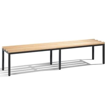 Abbildung zeigt Sitzbank mit Hartholzleisten in der Gestellfarbe Schwarzgrau (RAL 7021) - Bitte die Angebotenen Farben in der Artikelbeschreibung beachten.