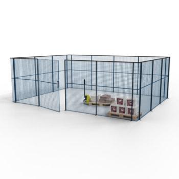 Die angebotene Konfiguration der Gittertrennwand in Enzianblau/Tiefschwarz