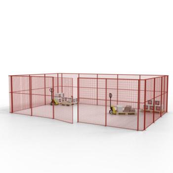 Die angebotene Konfiguration der Gittertrennwand in Feuerrot/Feuerrot