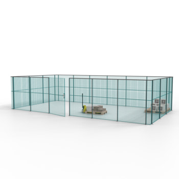 Die angebotene Konfiguration der Gittertrennwand in Türkisblau/Graphitgrau