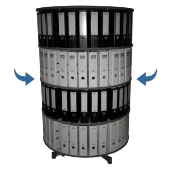 Ordner-Drehsäule - 1.000 mm Säulendurchmesser - 4 Etagen - Im Ganzen drehbar - Die abgebildete Farbe ist Hellgrau