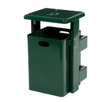 Beispielabbildung rechteckiger Abfallbehälter mit Ascher, hier in Moosgrün (RAL 6005)