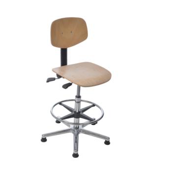 Arbeitsstuhl mit Fußring, Buche, Aluminium Fußkreuz mit Gleitern