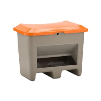 Beispielabbildung Streugutbehälter mit Einfahrtaschen und Entnahmeöffnung, 200 l: hier in der Ausführung mit grauem Korpus und orangem Deckel.