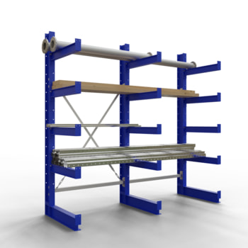 Anwendungsbeispiel des Kragarmregales, bestehend aus einem Grundregal und einem Anbauregal