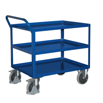 Tischwagen mit Stahlwanne - 3 Etagen - Traglast 400 kg - Griff senkrecht - enzianblau - Ladefläche wählbar