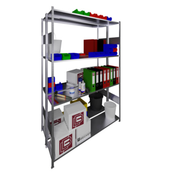 Beispielabbildung: Steckregal, doppelzeilig, verzinkt, 8 Böden, 1.000 x 300 mm (BxT)