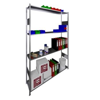 Beispielabbildung: Steckregal, verzinkt, 4 Böden, 2.000 x 1.300 x 300 mm (HxBxT)