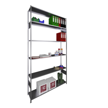Beispielabbildung: Steckregal mit vorgefertigten Rahmen, verzinkt, 6 Böden, 2.500 x 1.300 x 300 mm (HxBxT)
