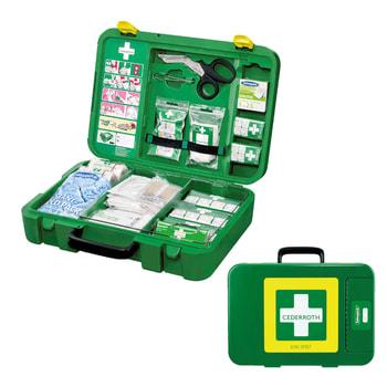 Erste Hilfe Koffer, Verbandskasten, befüllt nach DIN 13157, Pflasterspender, feuchtigkeits- und schmutzdicht, Signalfarben grün/gelb