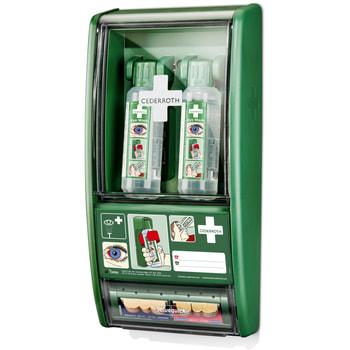 Augenspülstation mit 2 x 500 ml Augenspülflasche und Pflasterspender, Augendusche, Erste Hilfe, zur Wandmontage, neutralisiert Säuren und Akalien