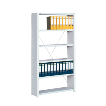 Beispielabbildung Büroregal mit Seitenwänden, hier das Grundregal in Lichtgrau (RAL 7035) (den Lieferumfang entnehmen Sie bitte der Artikelbeschreibung)