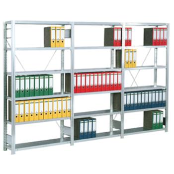 Beispielabbildung Büroregal mit Tiefenriegel, hier das Grundregal in Lichtgrau (RAL 7035) mit 6 Fachböden (den Lieferumfang entnehmen Sie bitte der Artikelbeschreibung)