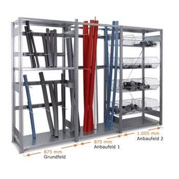 Die Abbildung zeigt das Handwerkerregal bestehend aus 1 x Grundfeld und 2 x Anbaufeld. Der Inhalt dient nur der Veranschaulichung und gehört nicht zum Lieferumfang